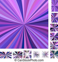 Purple colorful ray burst background set - Purple colorful...