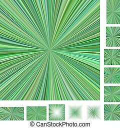 Green ray burst background set - Green vector ray burst...