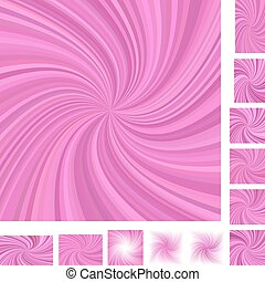 Pink spiral background set - Pink vector spiral design...