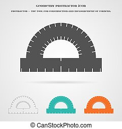 Vector Geometry Protractor Ruler Icon Element for your...