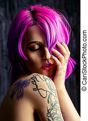 bright hair color - Beautiful young woman with stylish...