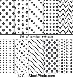 set of seamless patterns with dots,