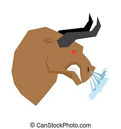 Angry bull. Head of an aggressive beast with big grin. Farm animal beast growls. Scary fierce buffalo with horns