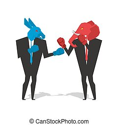 Donkey and elephant are boxing. Democrat and Republican fight. Businessmen combat in business suit and boxing gloves. Battle of the red and blue donkey elephant. Allegory of political parties in America. USA Elections