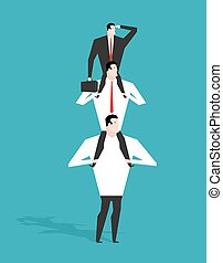 Career ladder. Boss sitting on shoulders of deputy. Head sits on neck of manager. Director is looking at building long-range business strategy. Infographics hierarchy in company. Workers in career system