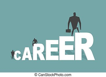 Career. Achieve improve on job. Businessman goes to spell. Winner in work. successful promotion in official, social, scientific and other activities