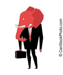 Elephant Republican politician. Metaphor of political party...
