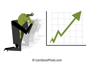 Green Bull prays on  rate increase on stock exchange. Green arrow up. Worship of money. Prayer quotes. Trader kneeling before schedule. Allegory illustration for  magazine business