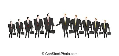 Combining corporations. Business deal. Merger. Managers...