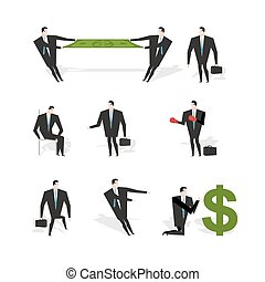 Set businessman situation. Figures of man in suit with briefcase. Share profit. Businessman with boxing gloves. Adoration of dollar. Prayer money. Sad sad Manager sits on chair