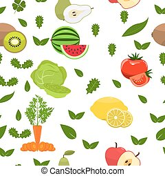 Fruity seamless pattern. Flat color design. Healthy food background