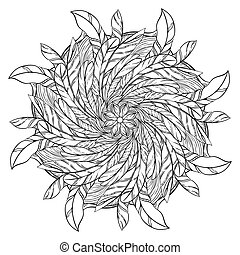 Black and white circular pattern. Round kaleidoscope of...