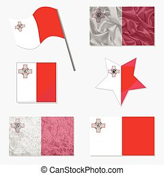 Set with Flags of Malta - Flags of Malta Made in Different...