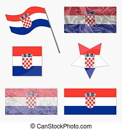 Set with Flags of Croatia