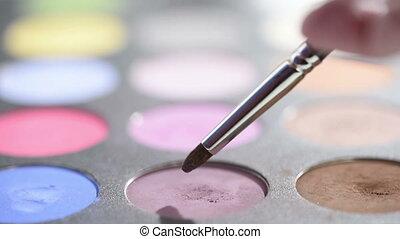 brushes and make-up eye shadows - Makeup brushes and make-up...