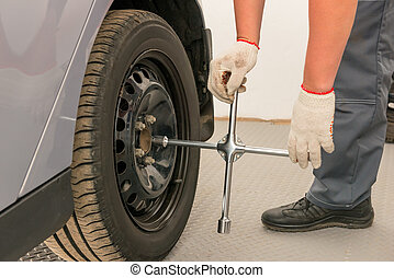 Mechanical hand in glove with a wrench untwists the wheels