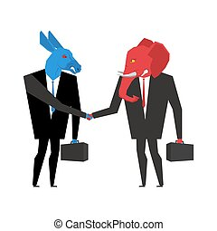Transaction elephant and donkey. Democrats and Republicans...