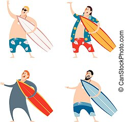 Set of surfers