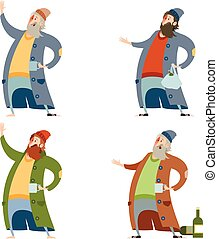 Set of homeless people - Vector image of the Set of homeless...