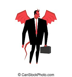 Devil businessman. Satan is boss of hell. Lucifer in...