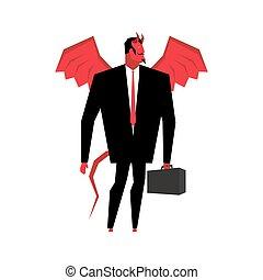 Devil businessman. Satan is boss of hell. Lucifer in...