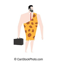 Businessman prehistoric. Ancient boss in skin of giraffe. Neanderthal ina tie. Cro-Magnon to case. Homo sapiens business man. paleanthropic with suitcase. Caveman Director