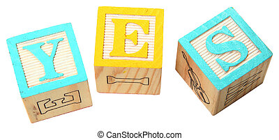 YES in Alphabet Blocks - The word YES written in colorful...