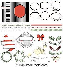 set of elements for design