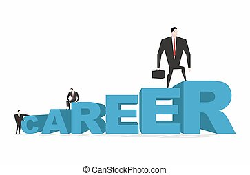 Career ladder. Career. Achieve improve on job. Businessman goes to spell. Winner in work. successful promotion in official, social, scientific and other activities