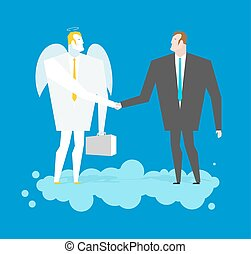 Deal with Angel. Businessman and cherub make deal in heavens. Archangel and man shaking hands on cloud. Handshake in paradise. Contract between manager and  Seraphim. Lamb of God in business suit and briefcase