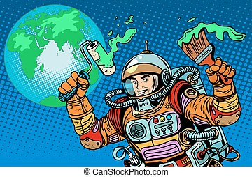 green Earth ecology astronaut pop art retro style Caring for...