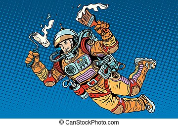 Astronaut with paint makes the repair pop art retro style...