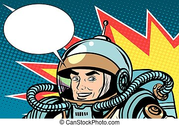 astronaut joyful energetic pop art retro style Science...