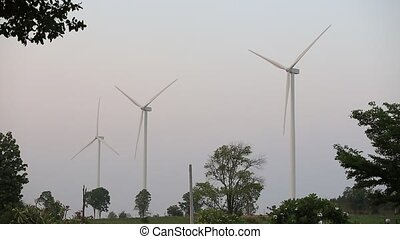 Wind turbines generating electricity, Thailand