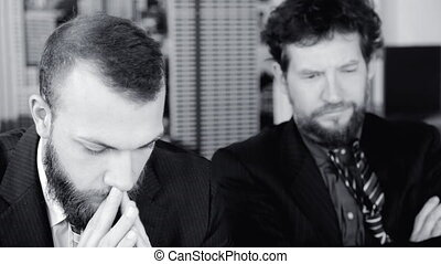 Desperate business men after failure depressed closeup