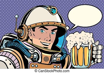 Astronaut with a mug of foaming beer pop art retro style...