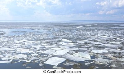 Drifting ice floe on the river - Ice floe on the river Volga