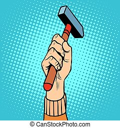 Hand with hammer vector illustration pop art retro style....