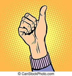 Thumb up gesture like pop art retro style. Hand gesture is...