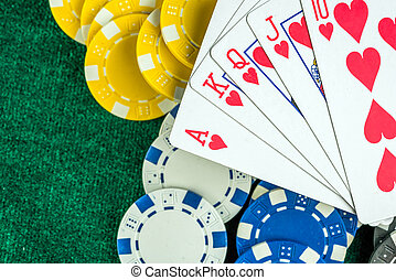 Gambling Game Cards and Money Chips