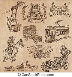transporte, -, un, mano, dibujado, vector, pack.,