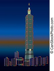 detailed vector skyline of Taipei - The detailed vector...