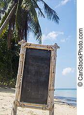 Empty signboard on the beach in Thailand