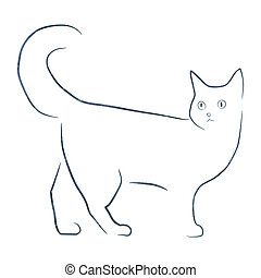 simple line drawing cat illustartion with paper texture
