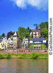 View of Quay of Neckar river in Heidelberg in Germany...