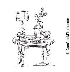 Gedeckter tisch gezeichnet  EPS Vektor von gedeckter tisch , romantische - Romantic, tisch ...