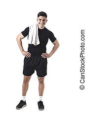 young attractive sport man with fit strong body holding...