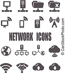 Network flat icon set - EPS 10 vector