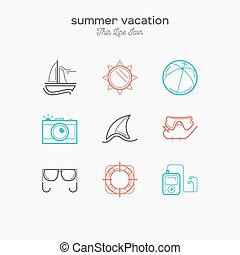 Recreation, summer vacation, tourism, thin line color icons set, vector illustration