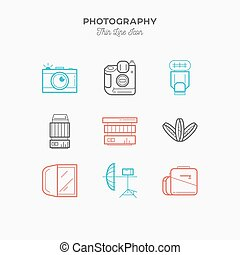 Photography equipment, camera, thin line color icons set,...